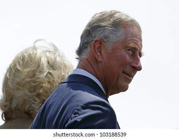 SAINT JOHN, CANADA - MAY 21: Charles, Prince of Wales, takes part in a ceremony at the Marco Polo cruise terminal with Camilla, Duchess of Cornwall, on May 21, 2012, in Saint John, Canada.