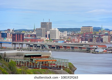 Saint John city skyline from the Wolastoq Park, Saint John, New Brunswick, Canada.