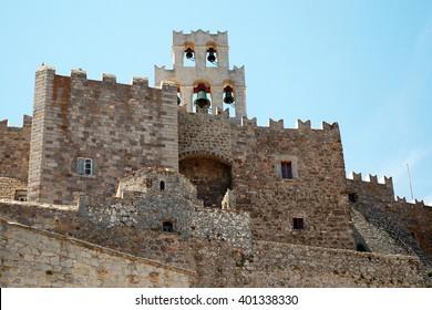 Saint John the Evangelist monastery at Patmos island in Greece