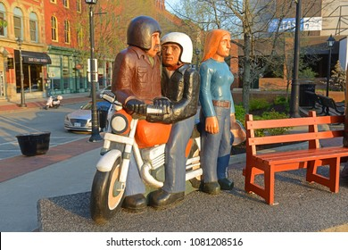 SAINT JOHN, NB, CANADA - MAY 20, 2016: People Waiting Sculptures by John Hooper in downtown Saint John, New Brunswick, Canada.