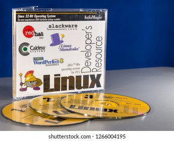 Saint John, NB, Canada - October 10, 2018: Linux Developer's Resource CDs. A collection of three Linux CDs that contain many different distributions.