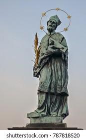 Saint John Of Nepomuk Statue on Charles Bridge, Prague Czech Republic