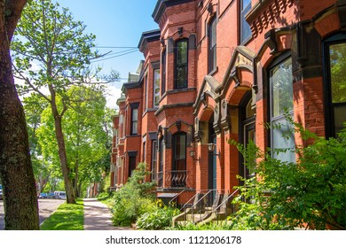 Saint John, New Brunswick—June 20, 2018; historic brick row house district in saint John's canada. The Germain Street area is regulated as all brick after a historic 1800s fire.