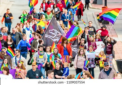 Saint John, New Brunswick, Canada - May 17, 2018: People march in the Rainbow Peace March in support of the LGBT community.