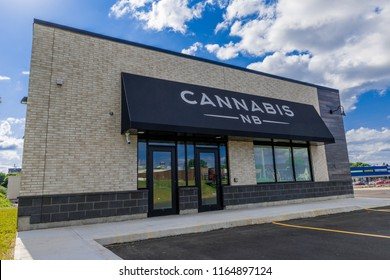 Saint John, New Brunswick, Canada - July 18, 2018: A CANNABIS NB retail store, where legalized cannabis is to be sold.