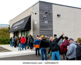 Saint John, New Brunswick, Canada - October 17, 2018: People line up to purchase cannabis legally from a Cannabis NB store on the first day of legalization in Canada.