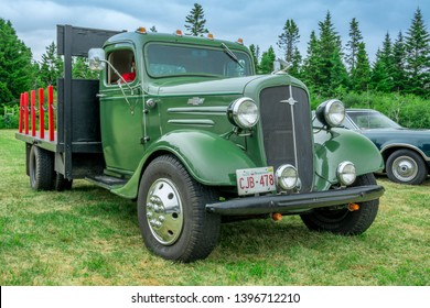 Saint John, New Brunswick, Canada - July 18, 2015 : 1936 Chevrolet stake bed truck at Outkast Car Club's Annual car show in Saint John New Brunswick.