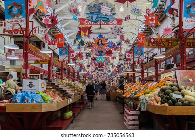 SAINT JOHN, NEW BRUNSWICK, CANADA - AUG 04, 2017: Interior of Saint John City Market in Saint John, NB, the oldest continuously operated farmer's market in Canada, with a charter dating from 1785.