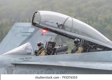 Saint John, New Brunswick, Canada - Setpember 17, 2017: Pilots in a CF-18 Hornet fighter jet prepare for takeoff after visiting Saint John.