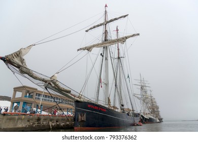 "Saint John, New Brunswick, Canada - August 20, 2017: Tall ships at the annual ""Festival Of Sail"" on a slightly foggy day in Saint John"