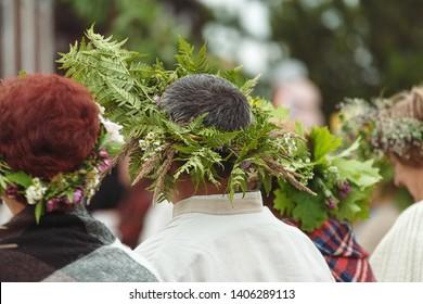 Saint Jonas' or Dew Holiday Festival (Rasos svente, Jonines, Midsummer Day or Saint John's Day) is a midsummer folk festival celebrated on June 24 all around Lithuania. Vilnius, 23 june 2018.  Wreaths