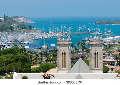 Saint Josef Cathedral and Moselle Bay in Noumea, New Caledonia