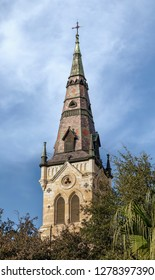 Saint Joseph Catholic Church is photographed from the River Walk in San Antonio, Texas.