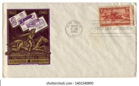 Saint Joseph, Missouri, The USA  - 3 April 1940: US historical envelope: cover with cachet 80th Anniversary of the fist Pony Express service, postage stamp 1860-1940, three cents, first day of issue