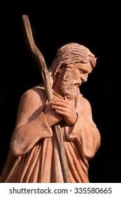 Saint Joseph statue in Nativity scene at florence piazza Duomo