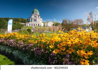 Saint Joseph's Oratory with flower garden