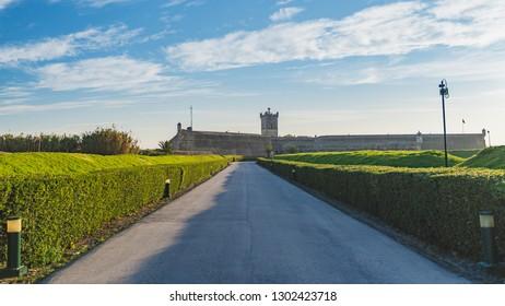 Saint Julian Fortress entrance with green garden, Oeiras, Lisbon