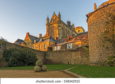 Saint Julian of Le Mans Cathedral in morning lights seen from the east, from Robert Triger Street, Pays de la Loire, France