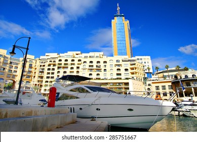 SAINT JULIAN' S , MALTA, EUROPE - NOVEMBER 8, 2014. Luxurious Portomaso Marina ,Maltaâ??s most exclusive residential, leisure and business address.