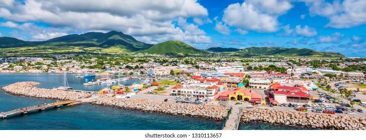 Saint Kitts and Nevis, Caribbean.  Panoramic view of port Zante, Basseterre.