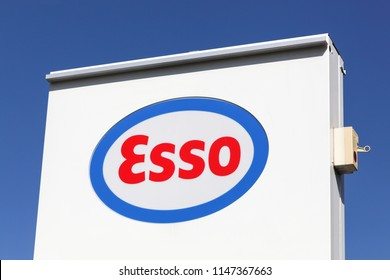 Saint Laurent, France - May 24, 2018: Esso logo on a panel. Esso is an international trade name for ExxonMobil. Exxon Mobil is an American multinational oil and gas corporation headquartered in USA