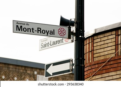 Saint Laurent & Mont Royal Street Signs - Montreal - Canada