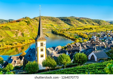 Saint Lawrence Church at the Bow of the Moselle river - Bremm town, Rhineland-Palatinate, Germany