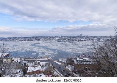 Saint Lawrence river (fleuve Saint Laurent) in Old Quebec city during a winter afternoon