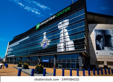 Saint Louis, MO—Sept 7, 2019; graphics depicting the Stanley Cup and 2019 NHL Championship cover the front of the Enterprise Center, home of the St Louis Blues professional hockey team.