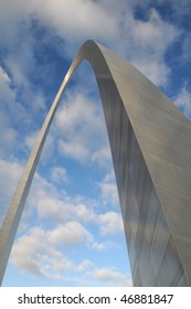 Saint Louis Arch against blue sky and clouds
