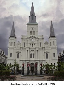 Saint louis Cathedral in French Quarter of New Orleans, Louisiana with cloudy sky