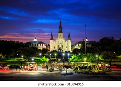 Saint Louis Cathedral and Jackson Square in New Orleans, Louisiana, United States at sunset