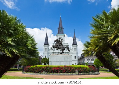 Saint Louis Cathedral and Jackson Square in the French Quarter New Orleans