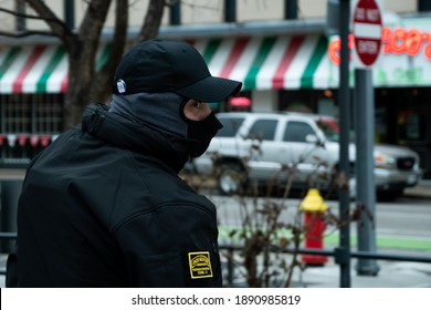 SAINT LOUIS - January 9, 2021: A member of the Oath Keepers, a far-right wing militia group wearing concealed body armor is spotted at a rally calling for the resignation of Senator Josh Hawley (R-MO)