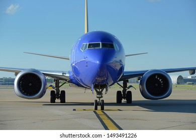 SAINT LOUIS MISSOURI- MAY 30: Southwest Airlines Boeing 737-800 Max arriving at the gate, USA on May 30, 2018
