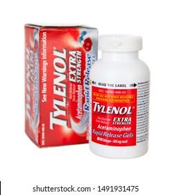 Saint Louis, MO . USA - 02.02.2011: Bottle Of Tylenol Extra Strength Capsules On White Background