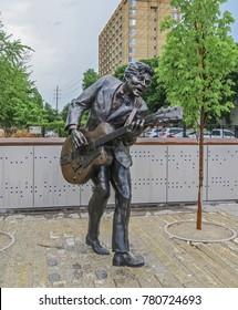 Saint Louis, MO USA - 04/12/2014 - Saint Louis, MO USA - Saint Louis Blues Legend Chuck Berry Statue