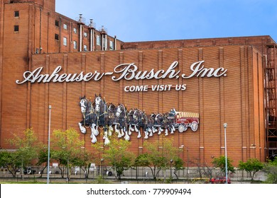 Saint Louis, MO USA - 04/24/2015 - Anheuser-Busch Inc Brewery Building Sign Saint Louis
