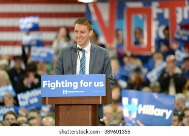 Saint Louis, MO, USA - March 12, 2016: Missouri Secretary of State Jason Kander (D) at Hillary Clinton rally at Nelson-Mulligan Carpenters?? Training Center in St. Louis.
