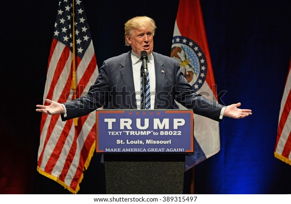 Saint Louis, MO, USA - March 11, 2016: Donald Trump addresses supporters at the Peabody Opera House in Downtown Saint Louis