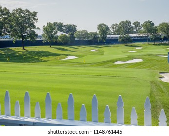 SAINT LOUIS, UNITED STATES -Aug 3, 2018: Wide shot of practice range at Bellerive Country Club which is the location of the 100th PGA Championship