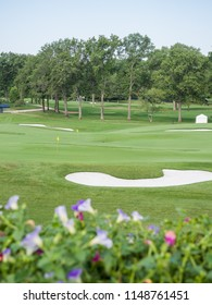 SAINT LOUIS, UNITED STATES -Aug 3, 2018: Practice range at Bellerive Country Club which is the location of the 100th PGA Championship
