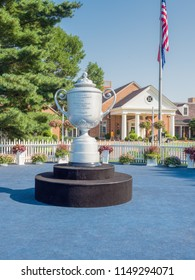 SAINT LOUIS, UNITED STATES -Aug 3, 2018: Bellerive Country Club Clubhouse with replica of Wanamaker trophy, Bellerive Country Club is the location of the 100th PGA Championship Tournament