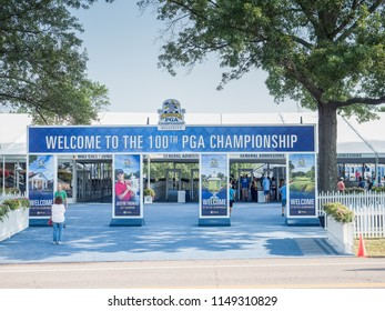 SAINT LOUIS, UNITED STATES -Aug 3, 2018: Entrance gate to the PGA tournament at Bellerive Country Club