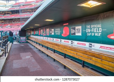 SAINT LOUIS, UNITED STATES - December 16, 2017:  Empty Cardinals baseball dugout bench ready for players to return after spring training