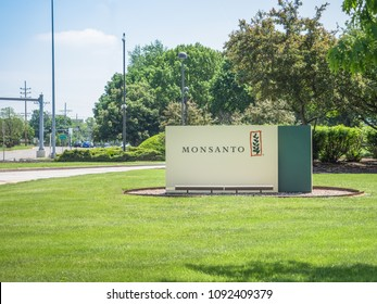 SAINT LOUIS, UNITED STATES - May 16, 2018: Monsanto sign at entrance to corporate headquarters at Creve Coeur campus before Bayer takeover buyout