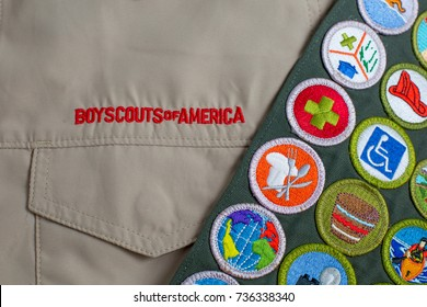 SAINT LOUIS, UNITED STATES - OCTOBER 16, 2017:  Boy Scouts of America (BSA) uniform shirt and merit badge sash