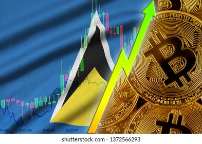 Saint Lucia flag and cryptocurrency growing trend with many golden bitcoins