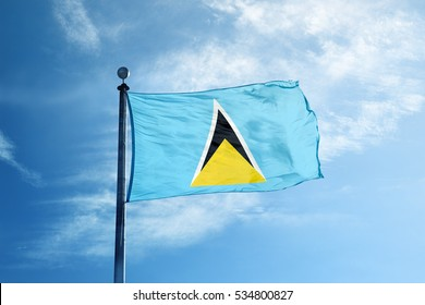 Saint Lucia flag on the mast