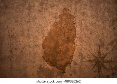 saint lucia map on a old vintage crack paper background